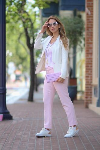 thefashionstatement blogger t-shirt pants jacket shoes sunglasses blazer clutch white blazer sneakers pink pants
