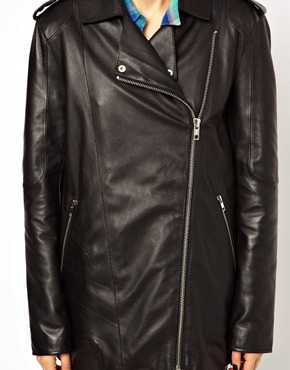 ASOS | ASOS Premium Longline Boyfriend Leather Jacket at ASOS