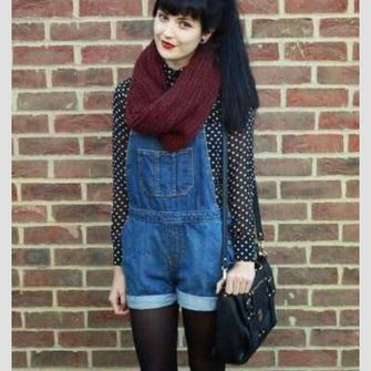 cute leather shorts bag hipster blouse grunge boho overalls polka dots alternative scarf red