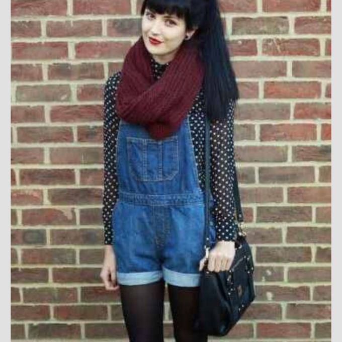 red scarf cute leather shorts bag hipster blouse boho overalls polka dots grunge alternative scarf red