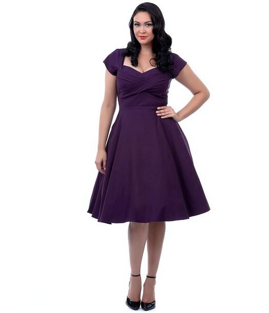 dress purple dress 50s style