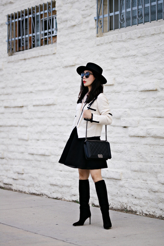 hallie daily blogger hat jacket sunglasses black skirt black boots