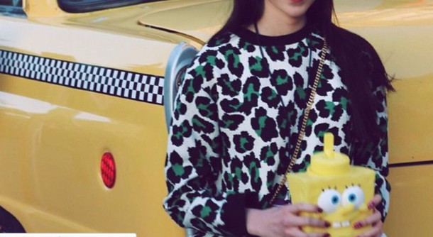 sweater top leopard print leopard print leopard print leopard print sweatshirt green white black print