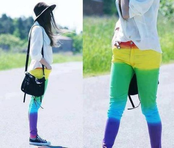original jeans gay pride colour rainbow pants