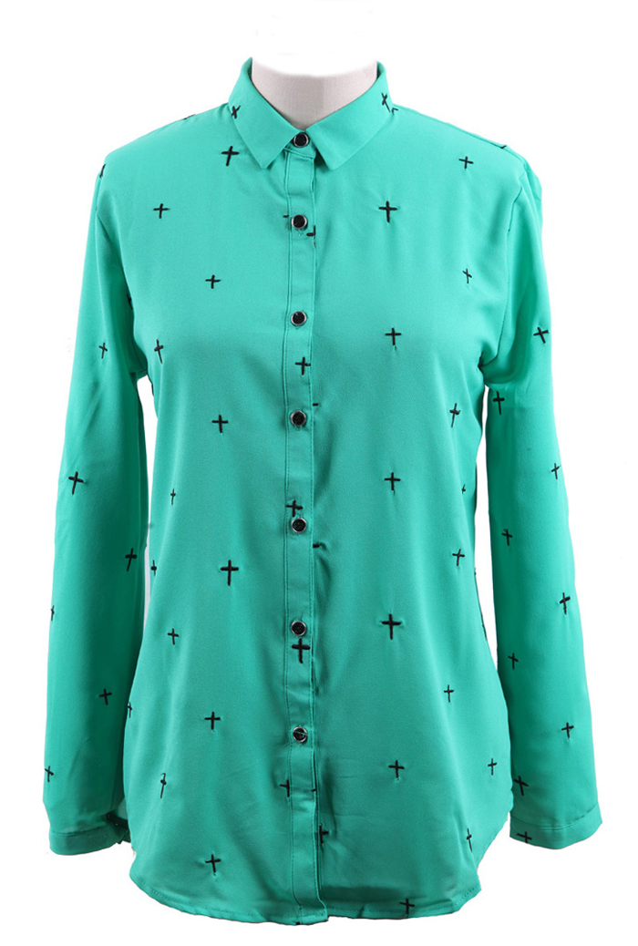 Green Wing Collar Embroidered Cross Curved Hem Blouse [S105489] - $37.64 : Focalday.com!, The Latest Womens & Mens  Fashion  Clothing Online Store