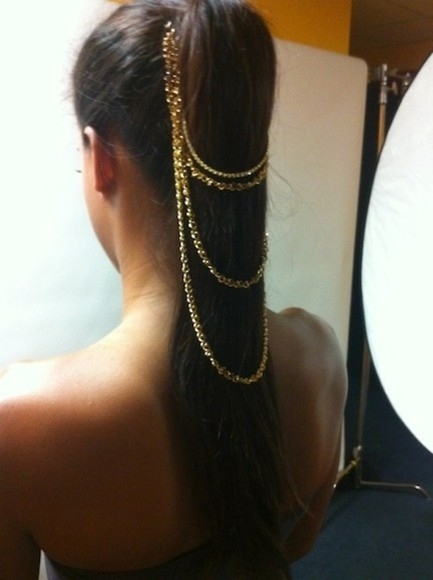 jewels brunette headchain tan, girl pretty, skinny gold jewelry gold headchain tumblr ponytail jewelry hair accessory