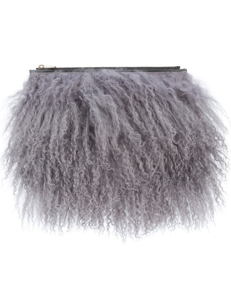 fur women clutch leather grey bag