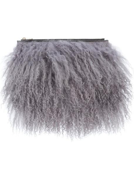 Valextra fur women clutch leather grey bag