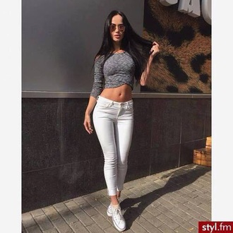 top crop tops sunglasses fashion style knitted sweater cropped sweater grey beautiful pretty outfit jeans