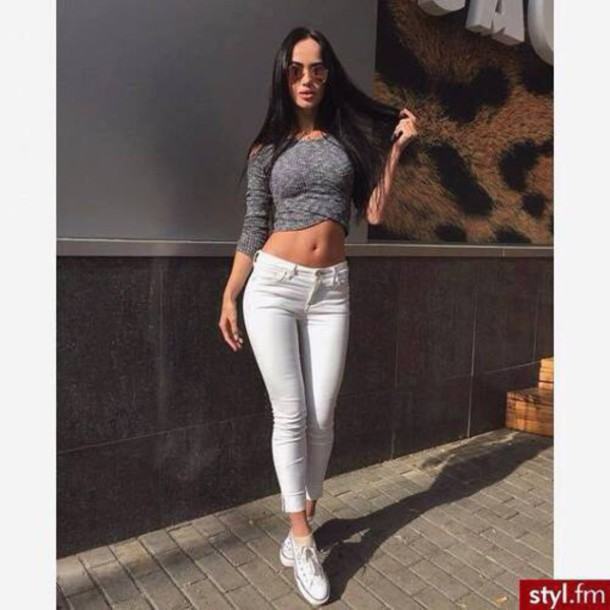 Top crop tops sunglasses fashion style knitted sweater cropped sweater grey beautiful ...