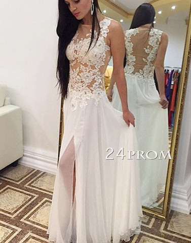 White Lace Long Prom Dress