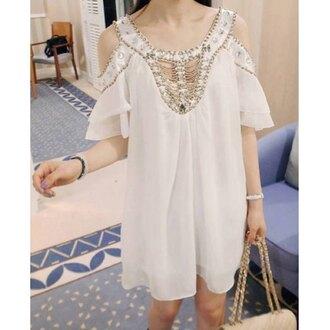 dress white boho fashion style trendy chiffon flowy summer spring trendsgal.com