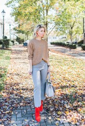 citypeach,blogger,sweater,pants,socks,shoes,jewels,beige sweater,red boots,boots,handbag,fall outfits