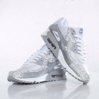 shoes nike nike air max nike air max 90 silver grey leopard print