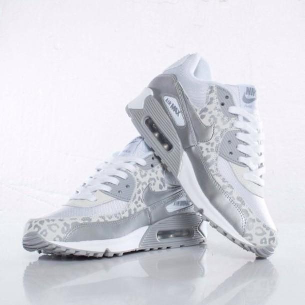 huge discount d7fe7 a5906 shoes nike air max nike air max 90 silver grey leopard print leopard print