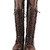 Lt Brown Cool Comfy Urban Lace Up Flat Knee High Boots Combat Biker Inspired