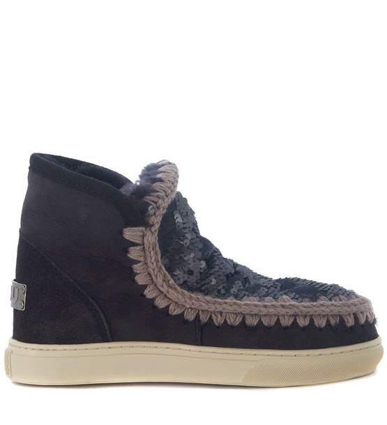 Mou mini dark ankle boots sequins grey shoes