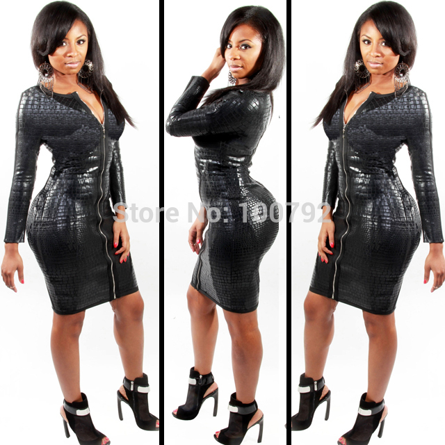 Aliexpress.com : buy sexy black snake skin faux leather bandage pencil dresses summer new 2014 long sleeve front zipper party women's midi dress from reliable dress patterns prom dresses suppliers on pelum factory outlet
