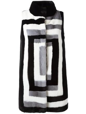 coat fur coat sleeveless fur women black