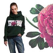 sweater,hoodie,womens hoodie,green,green hoodie,floral,flowers,green sweater,girly,girls hoodie,fusion,sdad,printed hoodie,full print hoodie