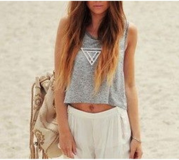 shirt top hipster hippie grey shirt and denim shorts hipster top shorts