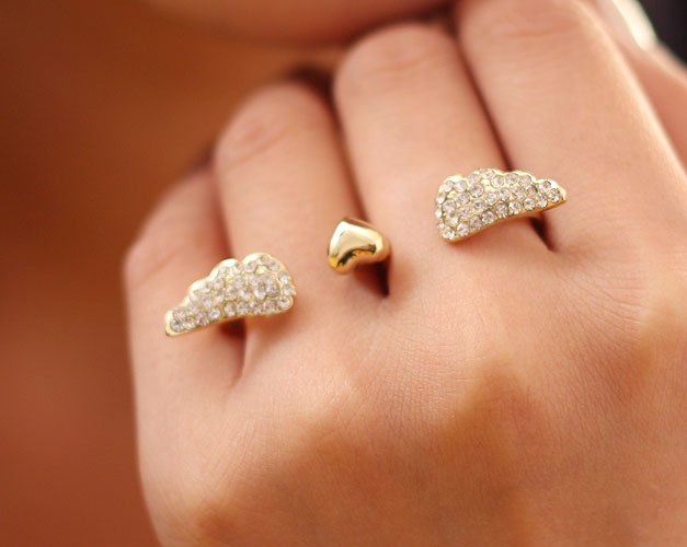 Min.order is $10 (mix order) new arrival punk cool charms angel wings double fingers ring 100% excellent quality