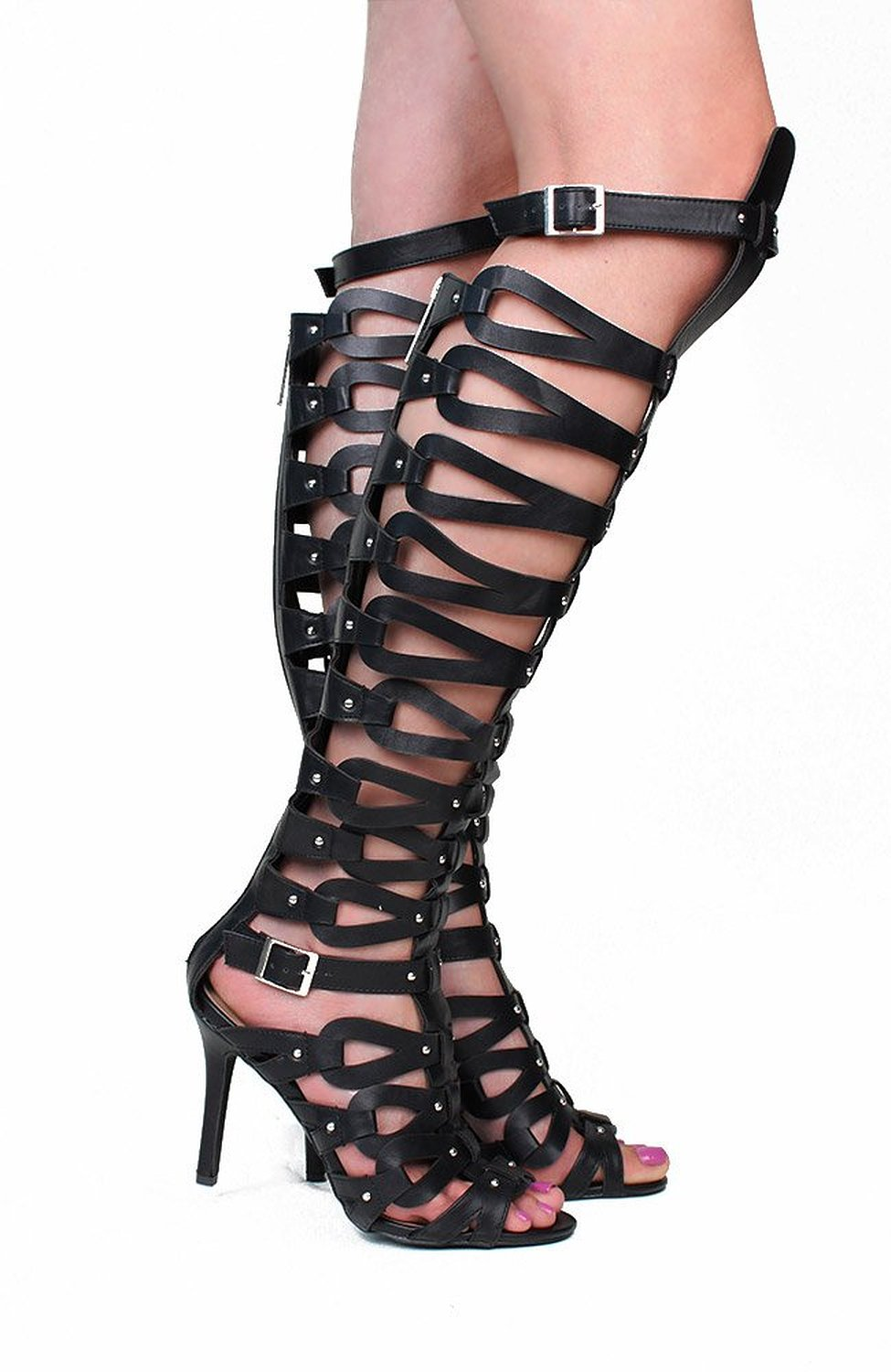 Breckelles Strappy Knee High Open Gladiator Buckles Flat