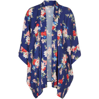 blouse cardigan floral cardigan jacket blue red yellow kimono sheer