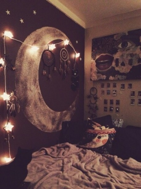 home accessory, bedroom, space, moon, black, tumblr, tumblr ...