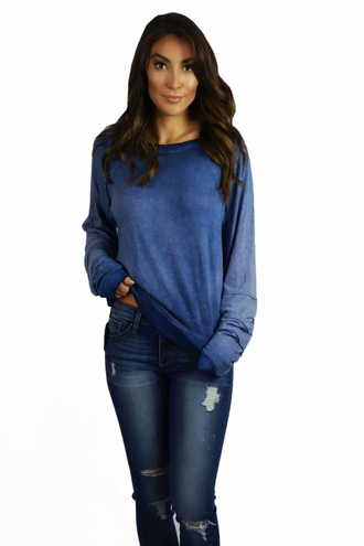 sweater blue long sleeves fashion style trendy casual fall outfits fall sweater freevibrationz free vibrationz