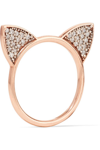 rose gold rose cat ears ring gold jewels