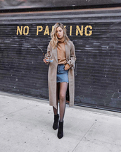 sweater,tumblr,turtleneck,turtleneck sweater,coat,brown coat,skirt,mini skirt,denim,denim skirt,tights,boots,black boots