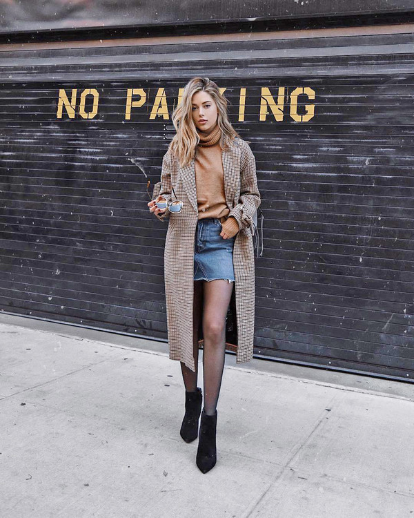 sweater tumblr turtleneck turtleneck sweater coat brown coat skirt mini skirt denim denim skirt tights boots black boots