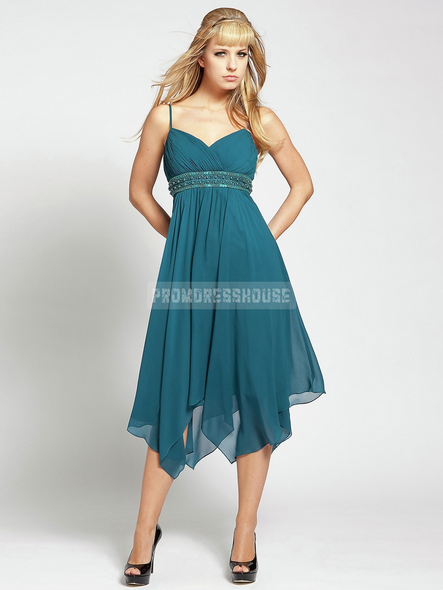 Graceful Short Length Pleats Spaghetti Straps Chiffon A-line Beading Prom Dress - Promdresshouse.com
