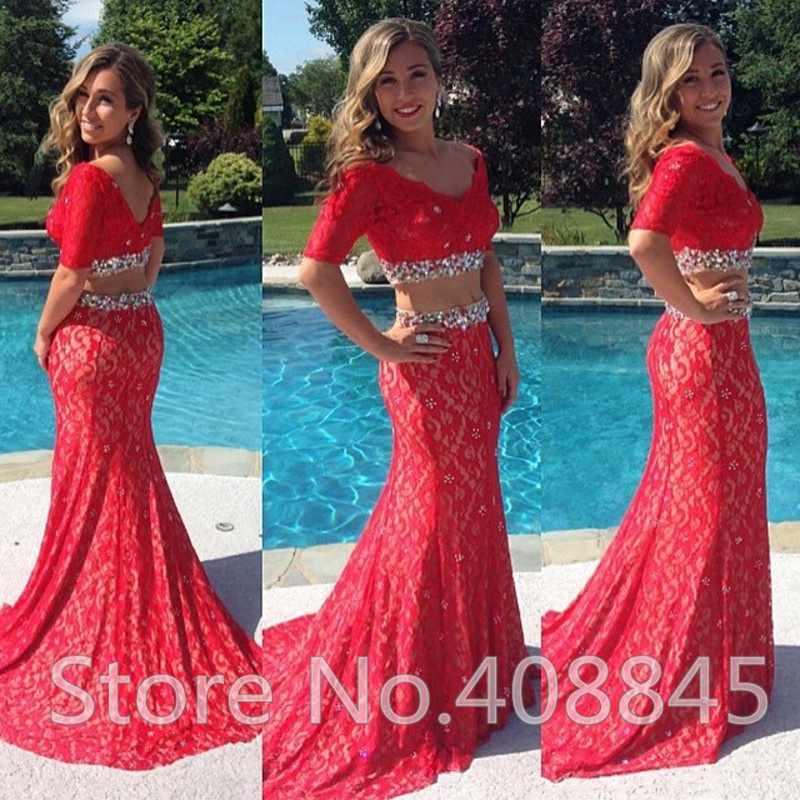 Aliexpress.com : Buy Fashion Red Lace Two Piece Mermaid Prom Dresses ...
