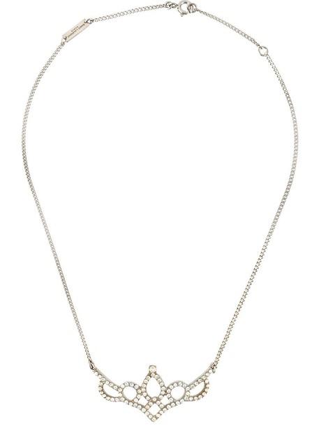 Saint Laurent women necklace grey metallic jewels