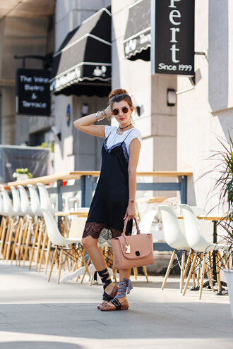 the mysterious girl blogger dress t-shirt jewels sunglasses slit dress round sunglasses pink bag lace dress black lace dress black dress black lace lace up flats dress over t-shirt slip dress ballet flats flats nude bag handbag zara white t-shirt