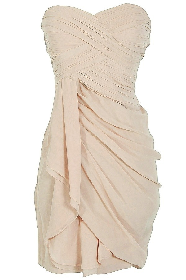 dress semi formal nude tan creme champaign