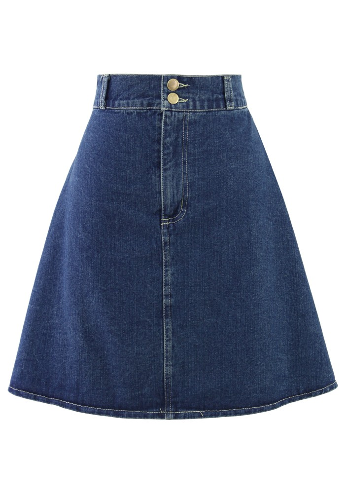 High-Rise A-Line Denim Skirt - Retro, Indie and Unique Fashion