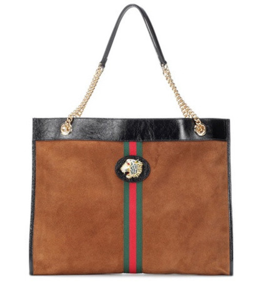 Gucci Large Tiger Head suede tote in brown