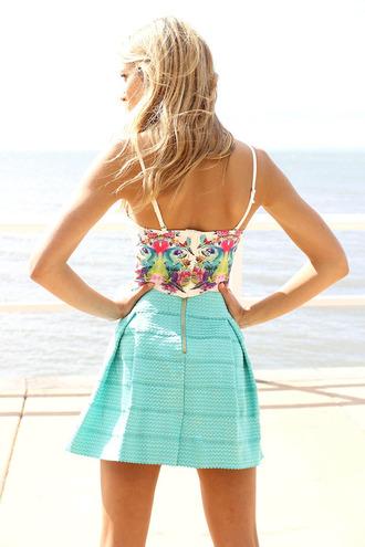 dress blue girl floral beach straps white skirt zips tanned model