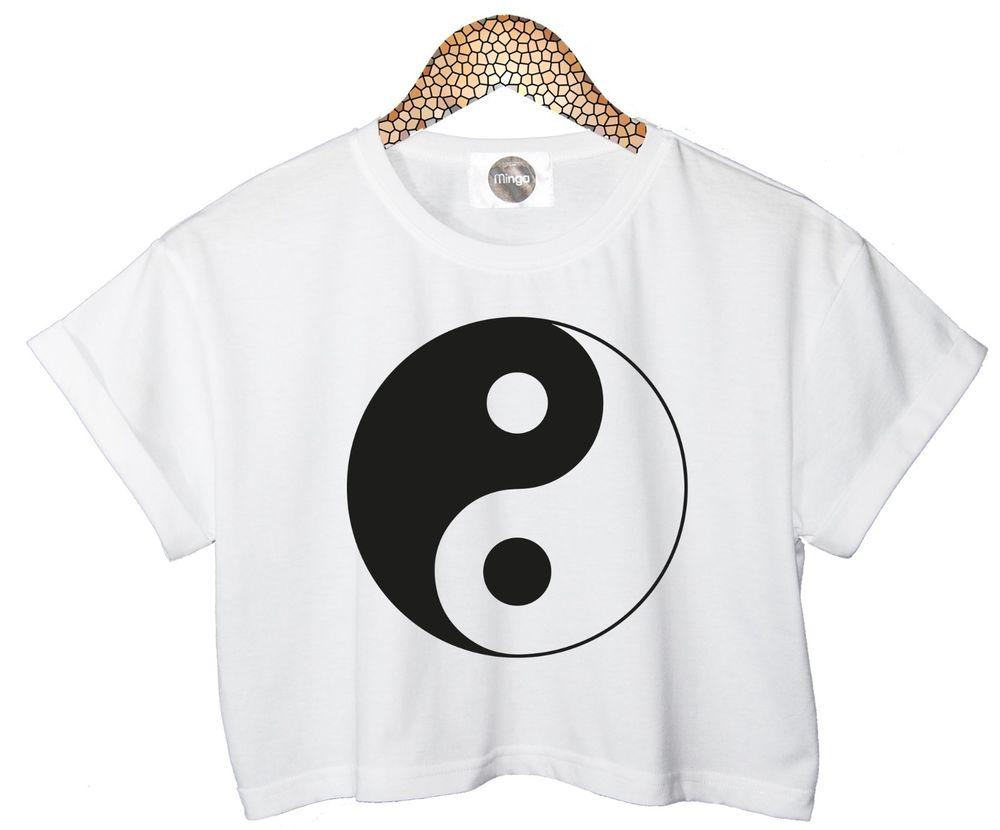 Yin Yang T Shirt Top Crop Tank Hipster Retro Womens White Swag New Ladies Logo | eBay