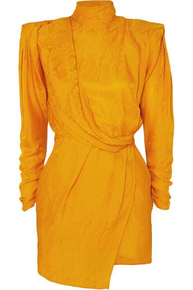 Dundas - Draped open-back satin-jacquard mini dress