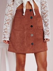 skirt,Choies,khaki high wiast skirt,hight waist skirt with button front,pocket high waist skirt