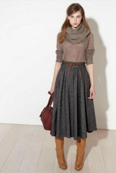 23d5b9bee5 skirt, grey, fall outfits, long skirt, long, midi, midi skirt ...