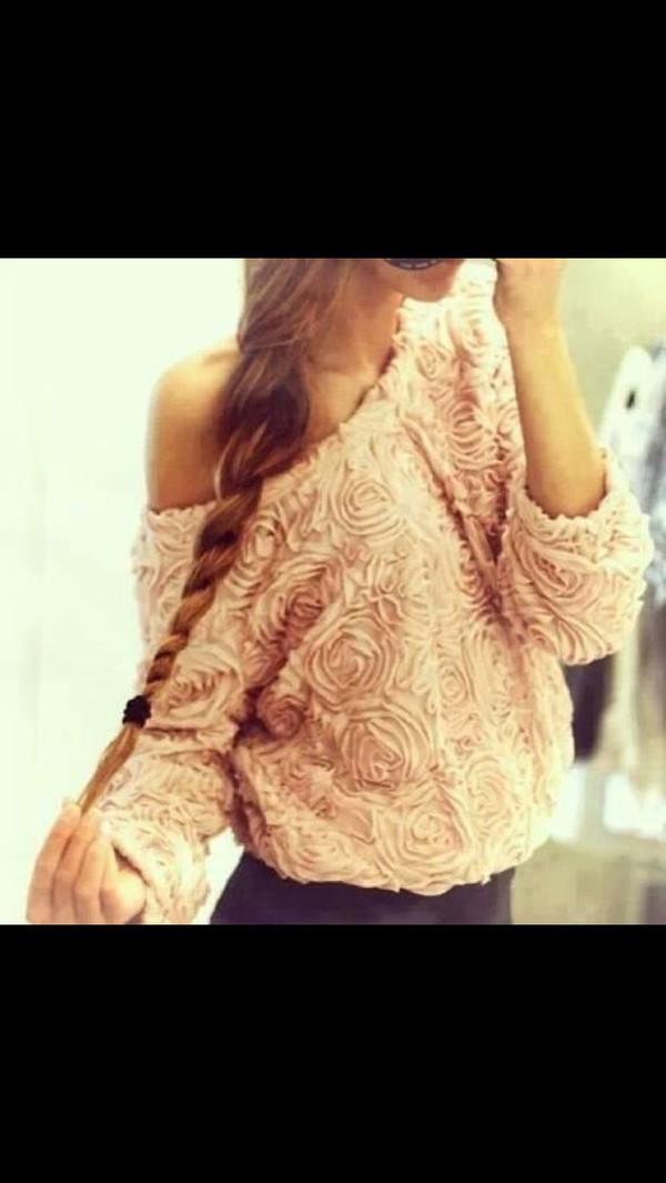pink pink jumper pink jumpers roses rose jumper dress rose sweater rose fuzzy sweater fluffy sweater