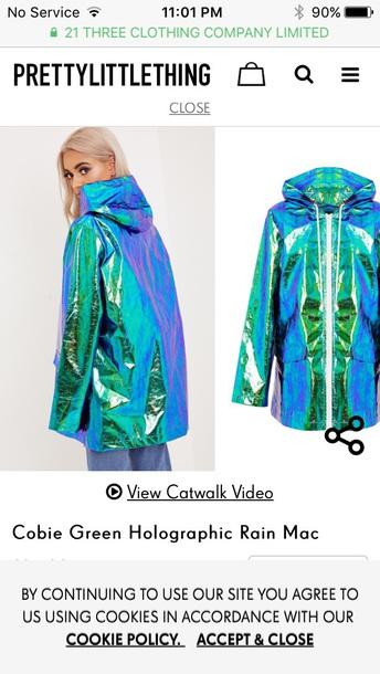 9e7767395 coat, iridescent, green, blue, holographic - Wheretoget