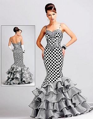 Blush Mermaid Polka Dot Ruffled Hem Gown, Blush 9048 Prom Mermaid Gown