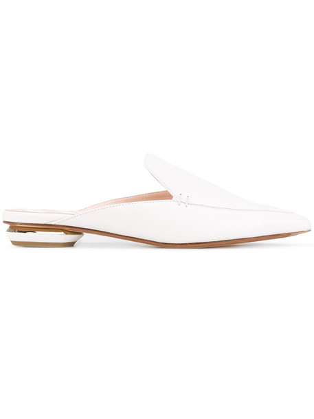 women mules leather white shoes