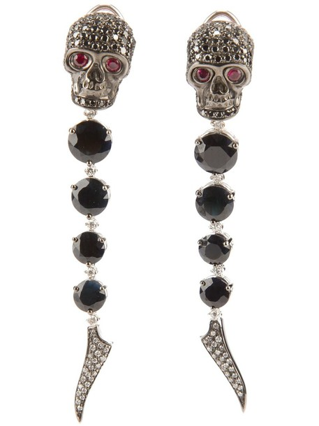skull women earrings gold black jewels